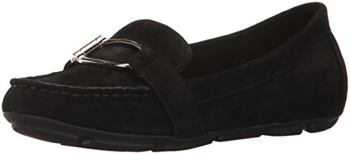 Women's Petra Suede Loafer Flat, Black, 8 M US (Anne Klein Loafers)
