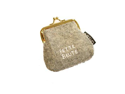 Portamonete / Borsa clic clac in feltro grigio chiaro / scuro con scritta tedesca ricamata - Portamonete chiaro Fette Beute