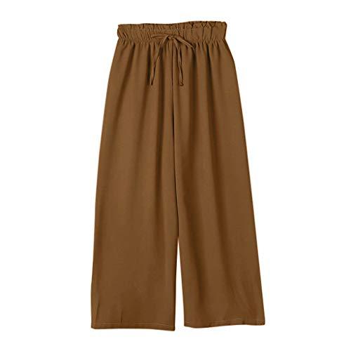 (Women's Wide Leg Capri Pants Cotton Cropped Palazzo Trousers Culottes Brown)