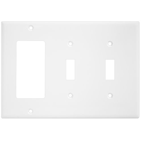 ENERLITES Combination Wall Plate (Double Toggle/Single Decorator Switch), Standard Size 3-Gang, Polycarbonate Thermoplasic, White 881231-W, Two One, 1