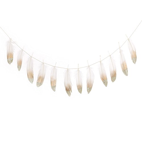 Ling's moment Gold Dipped Feather Garland Banner for Bohemian Bridal Baby Shower Teepee Decorations Boho Home Teepee Party Wall (Cute Kids Crafts Halloween)