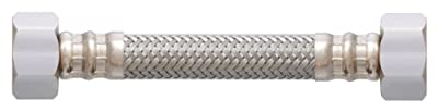 LDR 507 4348 Reinforced Faucet Supply Line, 1/2-Inch F.I.P. x 1/2-Inch F.I.P. x 48-Inch, Stainless Steel