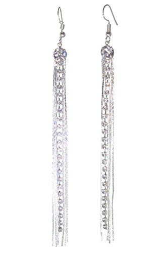 (LiveSublime Super Long Rhinestones and Chain Shoulder Duster Dangle Earrings (single round with chain, 3 carat))