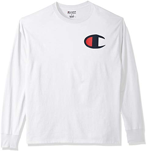 Champion Men's Classic Jersey Long Sleeve Graphic T-Shirt, White/Big c Logo, Small