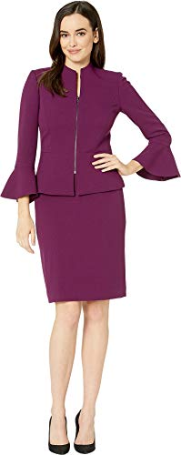 (Tahari by ASL Women's Skirt Suit with Collarless Jacket Mulberry 2 )