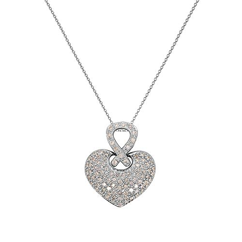- TriJewels AGS Certified Round Diamond 1.00 ctw Womens Cluster Heart Pendant Necklace (SI2-I1, G-H) 14K White Gold with 18 inches 14K Gold Chain