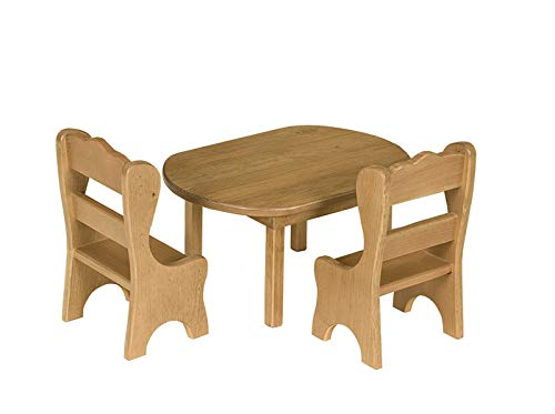 Toy Doll Oval Table with 2 Chairs - Amish Made in The USA