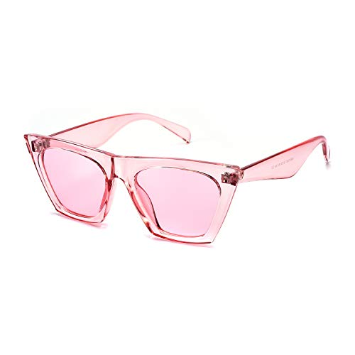 Mosanana Square Cateye Sunglasses for Women 2019 Trendy Fashion Pink Cute Retro Vintage Cat Eye Ladies Unique Thick Shade Sun Glasses Small Mod Chic Sharp Ponited gafas lentes de sol de para mujer