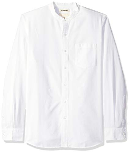 Goodthreads Men's Standard-Fit Long-Sleeve Band-Collar Oxford Shirt, -white, Medium