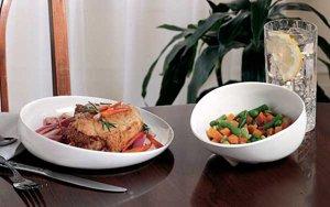 White Polyester Scoop Dish &  Blue Scooper Bowl Set