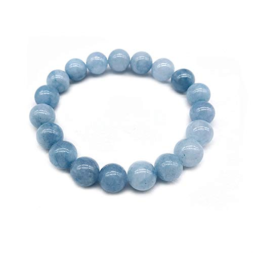 Sea Blue Aquamarine Buddha Bracelets Natural Stone Round Beads Elasticity Rope Men Women Bracelet 4Mm 6Mm 8Mm 10Mm 12Mm,Beads 10Mm ()