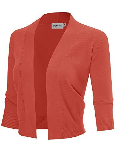 MAYSIX APPAREL 3/4 Sleeve Solid Open Bolero Cropped Cardigan For Women ORANGE L