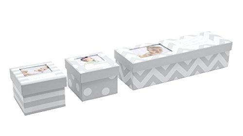 Tiny Ideas Chevron Baby Keepsake Boxes, Gray