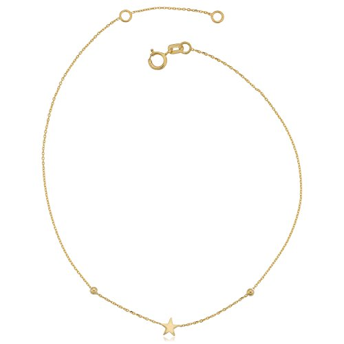 14k Yellow Gold Star Adjustable Length Anklet (fits 9'' or 10'') by Kooljewelry