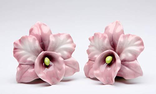 (Fine Porcelain Purple Pink Orchid Flower Salt and Pepper Shakers Set, 2-1/2