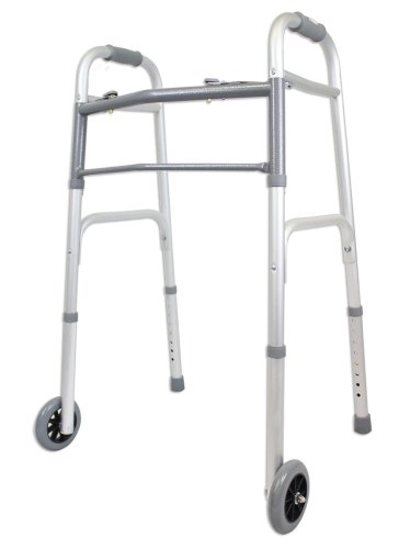 Ez2care Deluxe Two Button Folding Walker with 5-Inch Wheels, Anodized Silver