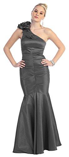 Abendkleider Meerjungfrau One Mermaid Abschlusskleid Abi Hochzeit Damen lang elegante Shoulder Ballkleider Kleid Dunkelgrau festliche Kleid für Abendmode xYY4qfpE