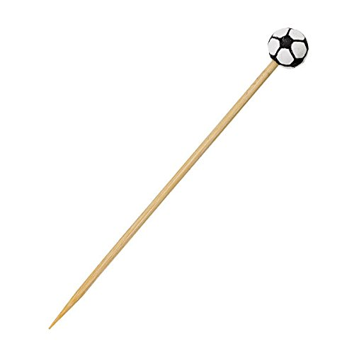 PacknWood Sports Themed Bamboo Pick Skewer, Soccer, 4.72'' Length (Case of 1000) by PacknWood