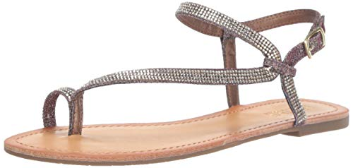 Kenneth Cole REACTION Women's Just Braid Flat Sandal with Toe Ring and Ankle Straps, Gold/Multi 8 M US