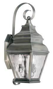 (Livex Lighting 2602-29 Exeter 2-Light Outdoor Wall Lantern, Vintage Pewter)