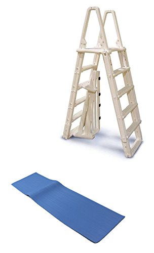 """Evolution A Frame Above Ground Swimming Pool Ladder 48 to 54"""" w/Mat With Ebook"""