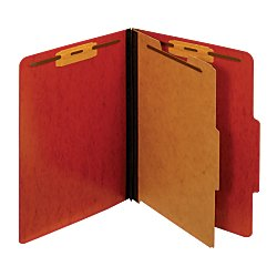 Moisture Resistant Classification Folders (Pendaflex(R) Pressboard Moisture-Resistant Classification Folders, 1 3/4in. Expansion, Letter Size, Red, Box Of 10)
