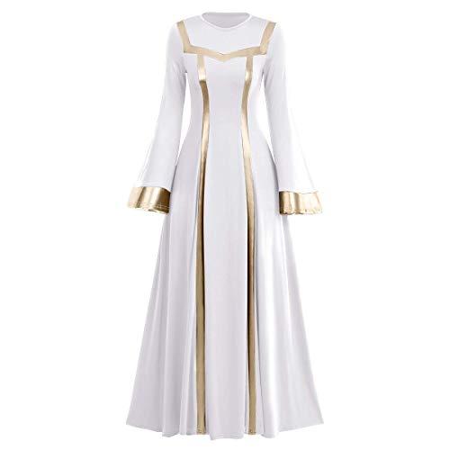 Women Metallic Praise Dance Dress Liturgical Church Worship Costume Bell Long Sleeve Bi Color Lyrical Robe Dancewear # White + Gold XL