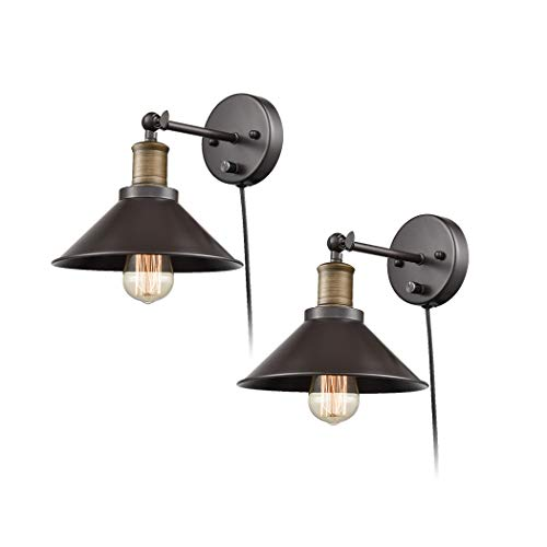 774e609f8a CLAXY Industrial Swing Arm Wall Sconce Simplicity 1 Light Wall Lamp-2 Pack