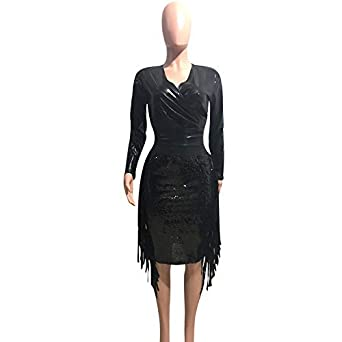 1fcf7c2771 Womens 2 Piece Outfits Long Sleeve PU Faux Leather Top and Sequin Midi  Skirt Sets Party