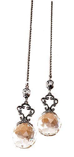 Set of 2 Vintage-Style Jeweled Ceiling Fan Chain Pulls CLEAR Elegant by VANVENE