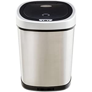 Nine Stars Motion Sensor Slim Touchless 13-Gallon Trash Can, Stainless Steel