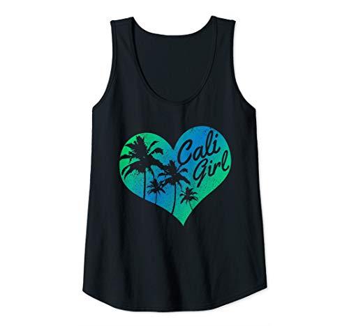 (Womens Cali Girl - Vintage California Heart Palm Trees Summer Gift Tank Top)