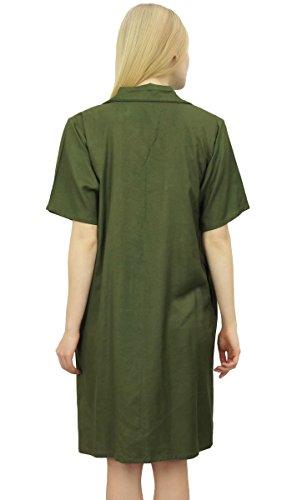 Verde femminile le Sleepshirt collare Shirt Nighty tasche Oliva con Bimba dentellato qRfgCwB