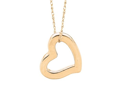- Finejewelers 14K Yellow Gold Open Heart Pendant Necklace on a 18 Inch Chain
