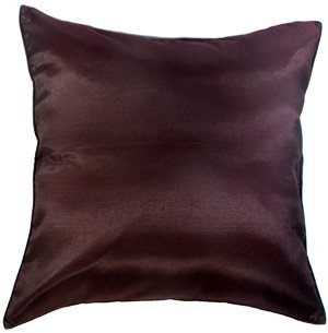 Artiwa® Silk Throw Decorative Pillow Case for Sofa Couch Bed Large 24x24 in. Solid Chocolate Brown (Large Chocolate Brown Cushions)