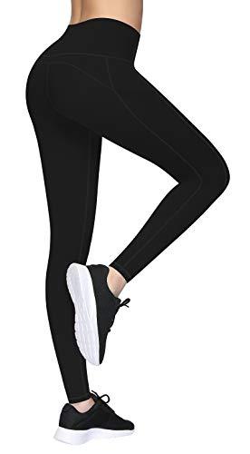Lingswallow High Waist Yoga Pants, Ultra Soft Yoga Leggings with Pockets Tummy Control 4 Ways Stretch Black