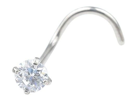 T'US 18G 2.5mm Crystals Nose Studs Nose Rings Nose Screws Bone Piercing - Nose Diamond Ring Bone