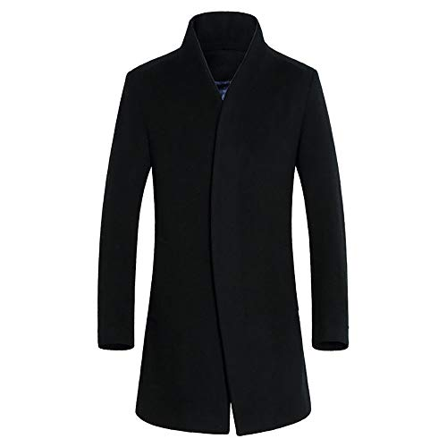 c8242a1efe002 iYYVV Men's Jacket Warm Winter Trench Long Outwear Button Smart Overcoat  Coats Black