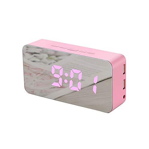 Digital Alarm Clock - Umaison Multicolor LED Mirror Surface Alarm Clock Beside Time Date Temperature Display Snooze Desk Clock Sleep Timer for Kids, Bedrooms, Office USB/Battery ()