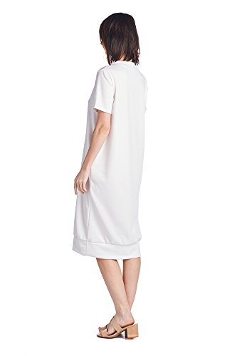 Women's 82 Various Comfortable Styles Jersey 1 Days Long Mid White Dresses q4xr5nqE
