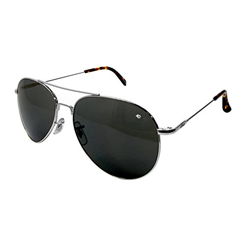 AO Eyewear American Optical - General Aviator Sunglasses with Wire Spatula Temple and Silver Frame, True Color Grey Glass Lens