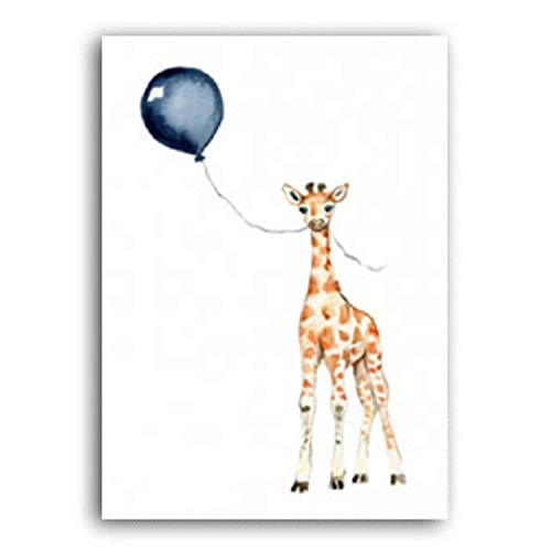 FAT BIG CAT Nordic Cartoon Baby Animals Canvas Paintings Nursery Blue Balloon Art Poster Zebra Elephant Print Wall Pictures Kids Room Decor,50x70cm no Frame,A ()