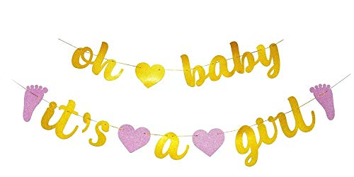 GOER Baby Shower Banner,No DIY Required oh Baby Its a Girl Gold and Pink Glitter Garland Photo Props for Baby Shower Party Decorations,Total Length 122 Inch
