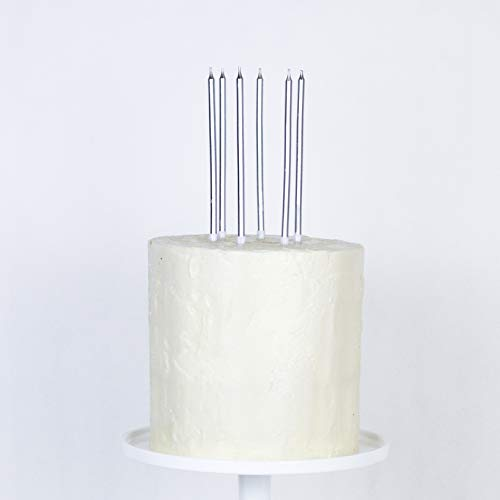 24 Count Extra Long Thin Candles With Holders For Parties Birthday Cakes