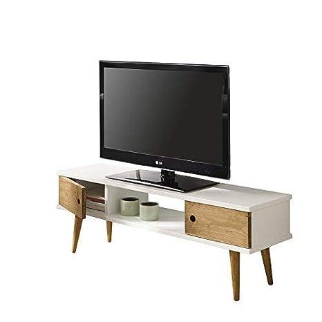 HOGAR24 ES Mesa Television, Mueble TV Salon diseño Vintage, 2 Puertas y Estante, Color Blanco Combinado con Madera Natural. Medidas 110 cm x 40 cm x ...