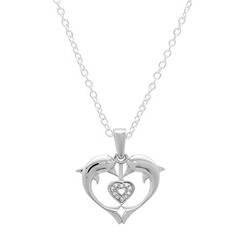 0.05 Carat (ctw) 10K White Gold Real Round Diamond Ladies Double Dolphin Heart Pendant