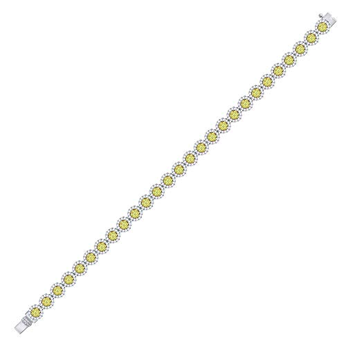 Mia Diamonds 14kt White Gold Womens Round Canary Yellow Diamond Cluster Fashion Bracelet 3 (3.60cttw) (I1)