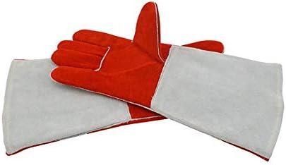 """労働保護作業用手袋 ワークレザーグローブ耐摩耗性絶縁溶接ロングプロテクティブグローブ、15""""* 3"""" (Color : Red, Size : L)"""
