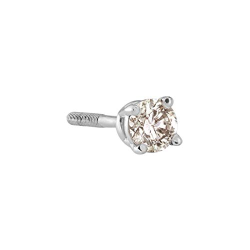 SINGLE Diamond Stud Earring in 18k White Gold (0.08ct, Good, I2-I3) 4-Prong Basket set with Screw-back by Diamond Wish (Single Diamond Stud Earring)