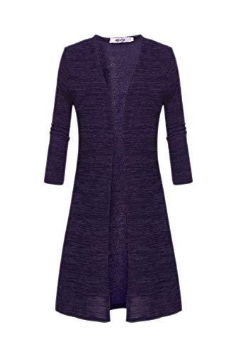 Unique Slim Primaverile Donna Fashion Nero Squisito Fit A Maniche Autunno Stlie Giacca Outerwear Giaccone Casual Maglia Lunga Purple Eleganti Forcella Aperto Lunghe Giubotto p6tw7qq